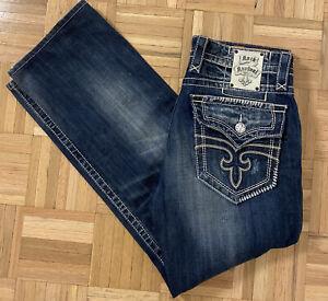 Rock Revival Steven Straight Mens Blue Denim Distressed Jeans Sz 33x33
