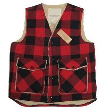 Polo Ralph Lauren Denim & Supply Mens Red Black Wool Buffalo Vest Jacket Coat