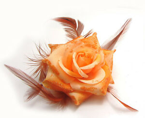 Rose Flower Feather Glitter Corsage Hair Clip Women Wedding Party Brooch Hairpin
