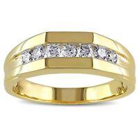 Mens 1/2 Ct Channel Set D VVS1 14k Diamond Wedding Band Ring Yellow Gold Finish
