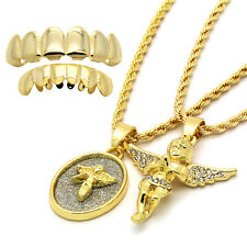 14k Gold Plated High Fashion 2 Angel Set w 2mm 24 & 30 Rope Chain w Grillz Set