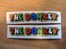 """Valentino Rossi style text - """"THE DONKEY""""  x2 stickers / decals  - 5in x 1in"""