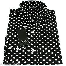 Relco negro de hombre lunares camisa nueva manga larga mod Vintage retro pin m