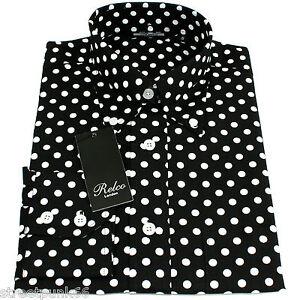 Relco Mens Black & White Polka Dot Long Sleeved Shirt Mod Skin Retro Indie 60s