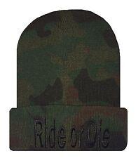 Camo/Black TRENDY COOL HIP CUFFED RIDE OR DIE BEANIE Beanies HAT SKULL CAP