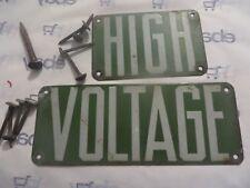 PORCELAIN SIGN  High Voltage Green Power Line 2 pc Vintage Man Cave Crazy lady
