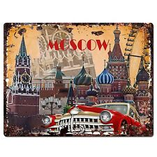 PP0788 Moscow Classic Car Chic Plate Sign Home Shop Restaurant Cafe Decor Gift