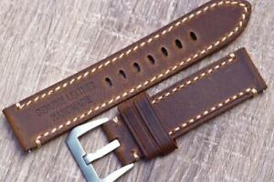 22mm Handmade Watch Strap Genuine Leather Double Layered Durable Stitch