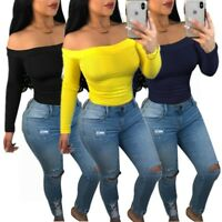 Women's Boat Neck Long Sleeves Solid Color Casual Club Bodycon Club Tops Shirt