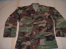 ARMY 1996 COAT HOT WEATHER WOODLAND CAMOUFLAGE BDU SM-S PATTERN COMBAT JACKET ~