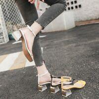 Womens High Heels Ankle Strap Perspex Sandals Ladies Clear Block MID Heel Shoes