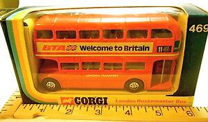 1974 Corgi London Routemaster Bus #469 by Mettoy Co. BTA Welcome to Britain NIB