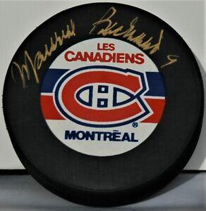 Maurice Richard signed NHL Montreal Canadiens hockey puck 500 Goals HOF