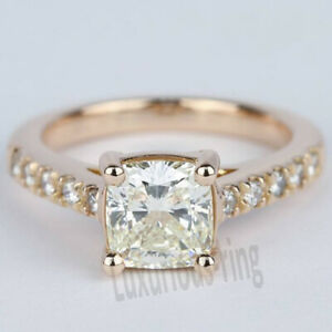 14k Solid Rose Gold 1.70Ct Cushion Real Moissanite Classic Engagement Party Ring