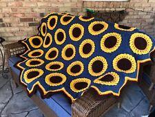 Large Crocheted Sunflower Afghan Blue Throw Bedspread 51 Hexagons