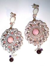 Pink Opal Gemstone 925 Sterling Silver Drop Large Round Earrings India NIB