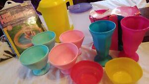12x Plastic Ice Cream Dishes, Bowls & Jugs Childrens Play plus Paddling Pool