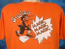 TRASHED vtg 80s BALTIMORE ORIOLES DISTRESSED PAPER THIN T-Shirt L mlb cartoon