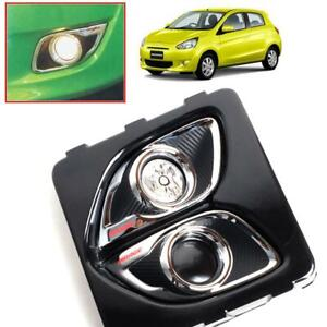 Cover Fog Lamp Spot Light Carbon Chrome For Mitsubishi Mirage Space Star 2012-15