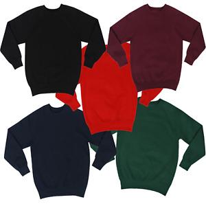 Mens Boys Plain School Uniform Fleece Sweatshirt Pull Over Crew Neck Jumper UK