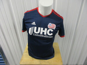 ADIDAS MLS NEW ENGLAND REVOLUTION YOUTH / WOMENS LARGE SEWN JERSEY 2014 KIT