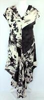 Chesca Draped Lagenlook Paint Cap Sleeve Black Ivory Long Dress 1 UK 12 - 14