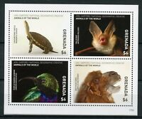 Grenada 2017 MNH Wild Animals of World 4v M/S Turtles Bats Birds Camels Stamps