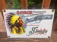 """Vintage Savage Arms Rifles & Ammunition Heavy Porcelain Sign 12""""x8"""""""