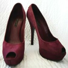 Louis Vuitton Platform Burgundy Suede Peep Toe Shoes Size 36