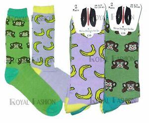 6 Pairs Men's Funky Funny Print Crew Novelty Funky Mid Calf Dress Socks UK 6-11