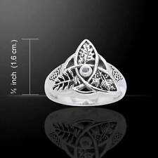 Oak Ash Thorn Ring .925 Sterling Silver Sz 9 Faerie Magick Triquetra Moonstone