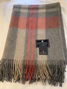 Balmoral Grey Coral Bold Line Wool Blanket Scotland Tartan Check Large Throw Rug