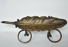 Antique 19th C, Figural Quill Shape Bronze Inkwell French German Austrian