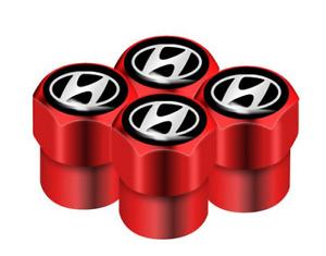 Hyundai Veloster Tucson Santa Fe Kona i30 Aluminum Valve Cap RED Wheel Tyre