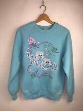 Vintage 1990 Fairy Kei Kittens Sweatshirt Size Medium Flaws Blue Flowers Bows