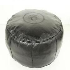 Orientalisches Marokkanisches Leder Sitzkissen Pouf Kissen Rbati Schwarz gross