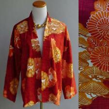 Vtg 70s Kimono Jacket Japanese Garden Asian Bamboo Cotton Print Red Orange S M