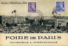 CARTE POSTALE / SALON PHILATELIQUE / FOIRE DE PARIS 1942 SECTION PHILATELIE