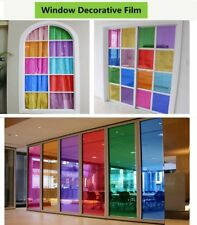 9Colors Window Film PET Glass Sticker Decorative UV Proof Home Office Decor