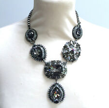 Butler and Wilson Pewter Crystal Elaborate Y Shape Necklace NEW