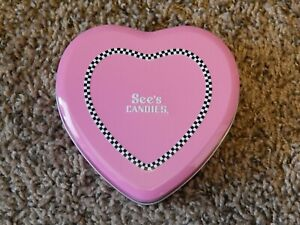 """SEE'S CANDIES VALENTINE'S DAY PINK HEART METAL TIN 4 1/2"""" X 4 1/2"""" X 1"""" NO CANDY"""