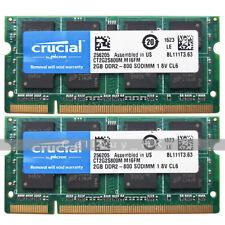 Crucial 4GB 2x2GB CT2G2S800M.M16FM PC2-5300 DDR2-667MHz 200pin SODIMM Memory RAM