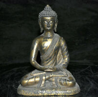 "7.8 ""Vieux Tibet Rouge Cuivre Doré Bouddhisme Sakyamuni Amitabha Bouddha Statue"