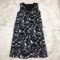 Old Navy Maternity Medium Womens Dress Sleeveless Black White Floral Nylon
