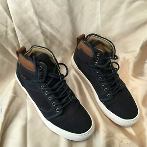 Vans off the wall Navy and Brown High tops Size 6 Unisex- canvas and leather Sk8