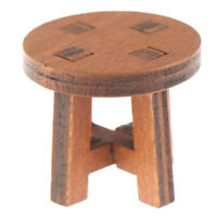 1/12 Dollhouse Miniature Mini Wooden Stool Chair Tea Table Model Accessories Fw