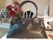 US Seller Authentic SALVATORE FERRAGAMO LEATHER STITCH HAND BAG BLACK Good