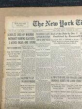 Dutch Schultz Dies - Gangster - Mobster - 1935 New York Times Newspaper