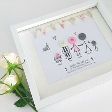 Button Family Frame / Christening Gift / Button People / Handmade /Family Button