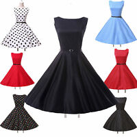 CLASSIC VINTAGE STYLE 1950's FULL CIRCLE SWING DRESS SIZE S-XL + BELT